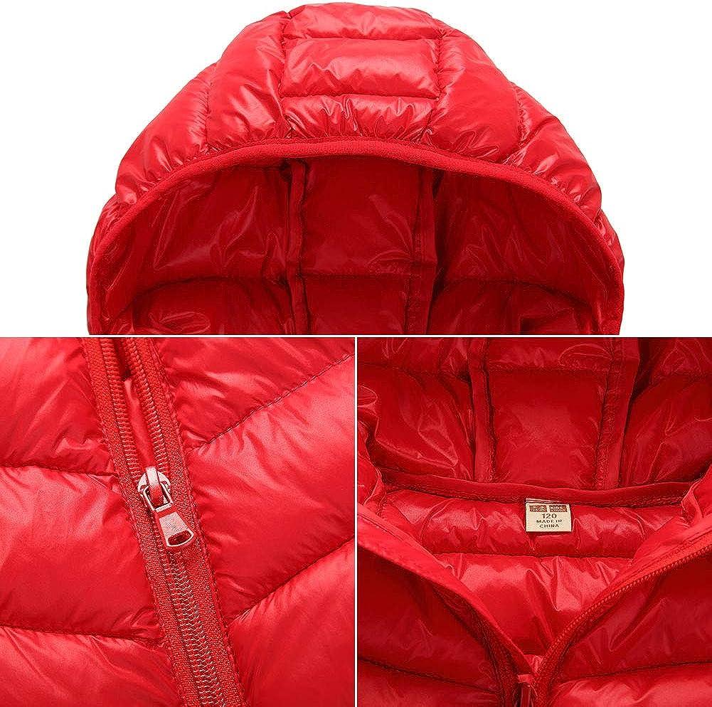 Toddler Girls Cotton Vest Hooded Puffer Down Waistcoat Sleeveless Lightweight Jacket Red