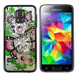 MobileHut / Samsung Galaxy S5 Mini, SM-G800, NOT S5 REGULAR! / Butterfly Flowers Spring Skull Biker / Delgado Negro Plástico caso cubierta Shell Armor Funda Case Cover