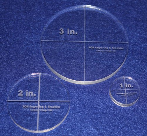 Circle Template 3 Piece Set.1'',2'',3'' - Clear 1/4'' Thick by TCR Templates