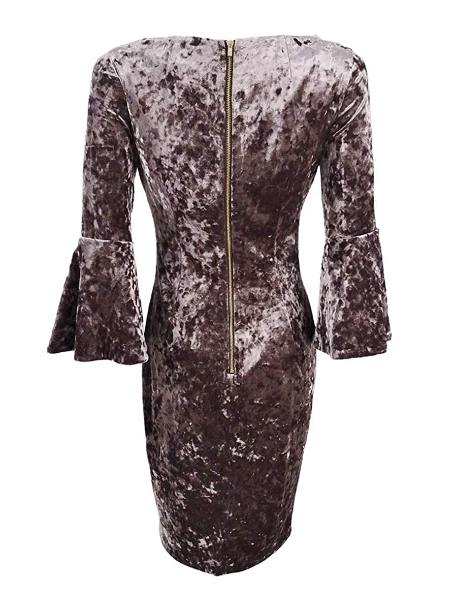 81775ea0 Calvin Klein Women's Petite Velvet Bell-Sleeve Dress (12P, Taupe) at Amazon  Women's Clothing store:
