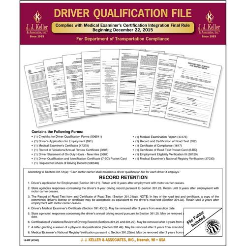 Driver Qualification File Packet (Two-Copy Forms)– Updated 2015 - Retail Packaging (Qty: 3 Units)