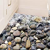 """BIBITIME Happy Streamlet Watercourse Nature Stone Wall Decal for Bathroom Floor Sticker Kitchen Tile PVC Decorations Nursery Kids Room Decor 19.6"""" x 27.5"""""""