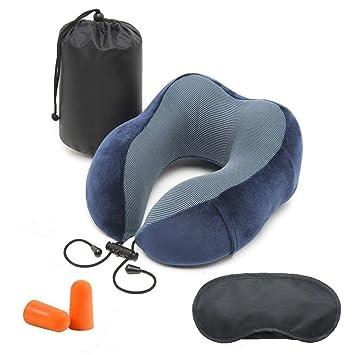 Cuscino Per Il Collo.Ventcy Cuscino Viaggio Aereo Kit Cuscino Da Viaggio Collo Con Eyemask E Earplug Cuscino Collo Viaggio Memory Foam Cuscino Cervicale Portatile Per
