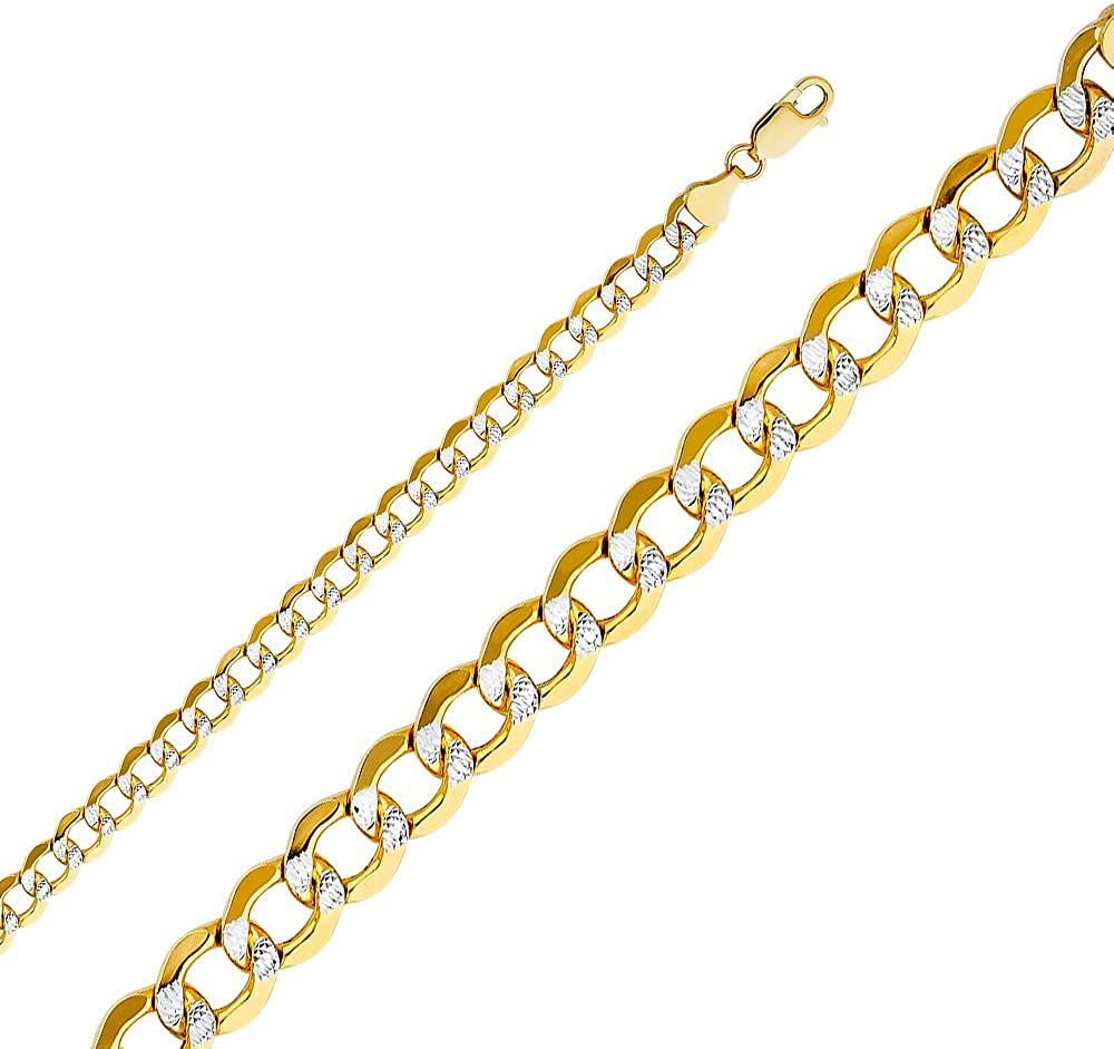 Sonia Jewels 14k Yellow Gold Hollow Cuban Bevel White Pave Chain Necklace With Lobster Claw Clasp