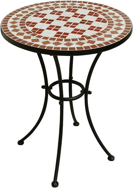 Mesa de jardín con tablero de cerámica y estructura de metal: Amazon.es: Jardín