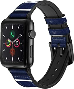 CA0434 Navy White Striped Leather & Silicone Smart Watch Band Strap for Apple Watch iWatch Size 42mm/44mm