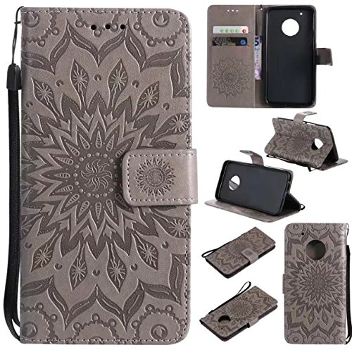 Price comparison product image Moto G5 Plus Wallet Case, A-slim(TM) Beauty Fashion Sun Pattern Embossed PU Leather Magnetic Flip Cover Card Holders & Hand Strap Wallet Purse Cover Case for Motorola Moto G5 Plus (2017) - Gray