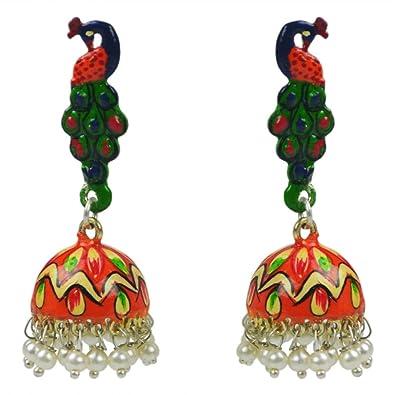 ccc38b505 Pearl jhumki earrings meena earrings gemstone german silver enamel stud peacock  earrings 14.30 gms crystalcraftindia fashion