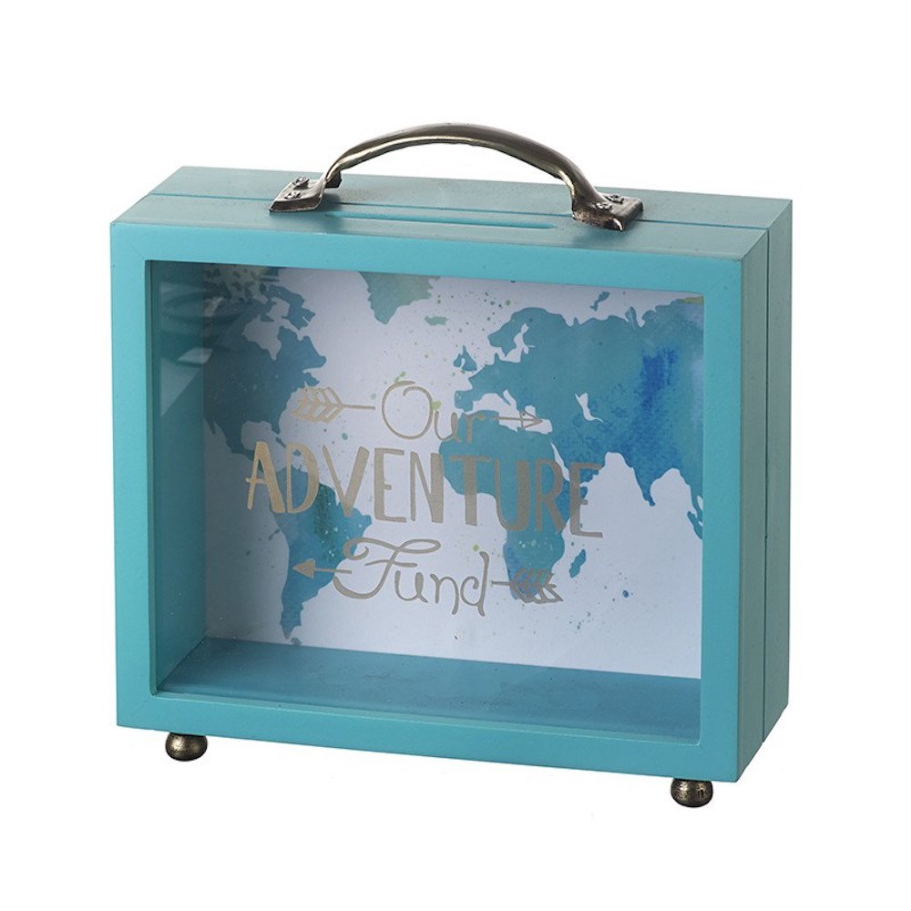 Heaven Sends Wooden Teal Suitcase Shape Money Box 'Our Adventure Fund' Heavensends