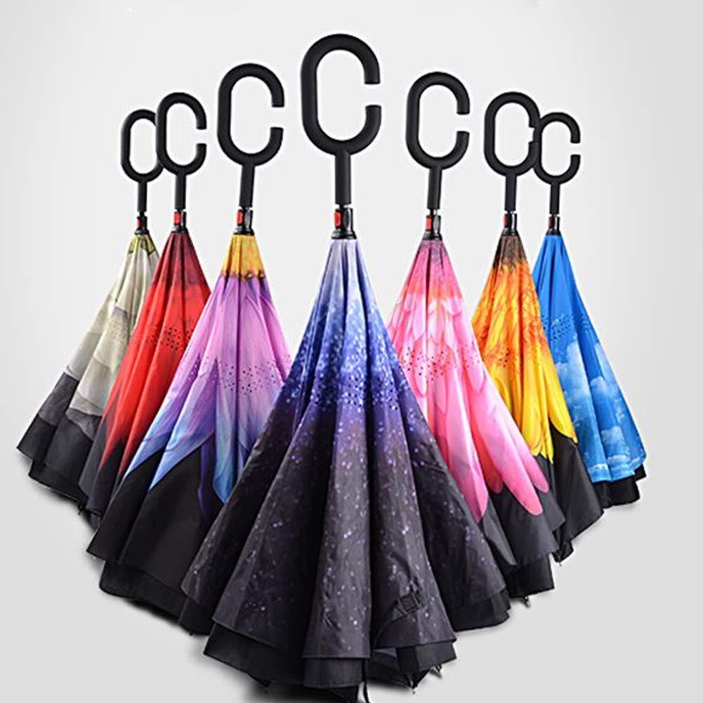 Inverted Umbrella Double-Layer-Reverse-Regenschirm f/ür Auto-und Au/ßenbereich Winddichtes UV-Schutz-gerades Regenschirm mit C-f/örmigen Griff Rosa