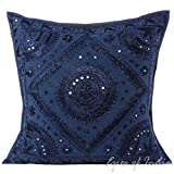 """EYES OF INDIA - 24"""" LARGE BLUE MIRROR EMBROIDERED DECORATIVE PILLOW CUSHION COVER Indian Bohemia"""