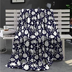 Luoiaax Sea Animals Soft Throw Blanket for Bed Couch Aquarium Animals Lightweight Life Comfort Blanket W40 x L60 Inch