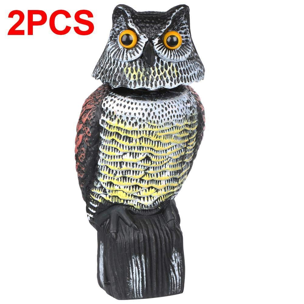 YAHEETECH 2 PCS Rotating Head Realistic Owl Repellent Bird Scarer Natural Enemy Scarecrow Garden Protection