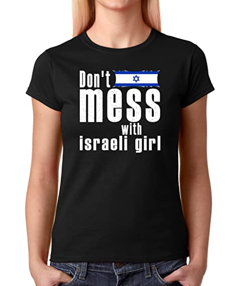 AW Fashions Dont Mess with Israeli Girl Premium Womens T-Shirt (Small