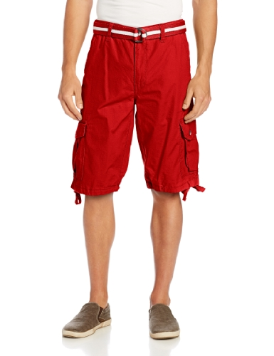 (Southpole Men's All-Season Belted Ripstop Basic Cargo Short, Red, 34)