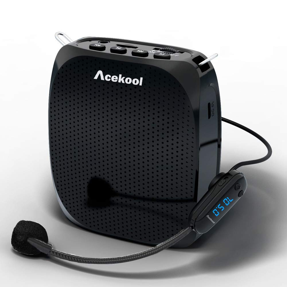 Acekool Portable Wireless Voice Amplifier Microphone with Waistband, MP3 Player/U Disk/TF, 1800mAh Rechargeable Batteries for Teachers, Speakers, Yoga Instructors, Coaches and More (Black-SD615)