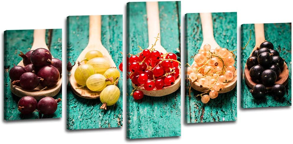 Fruits Kitchen Canvas Wall Art Decor - Fresh Red Purple Yellow Berry Currant On Wooden Table - 5 Panels Modern Fruits Pictures Painting For Dining Room Minimalist Home Office Framed Decorations