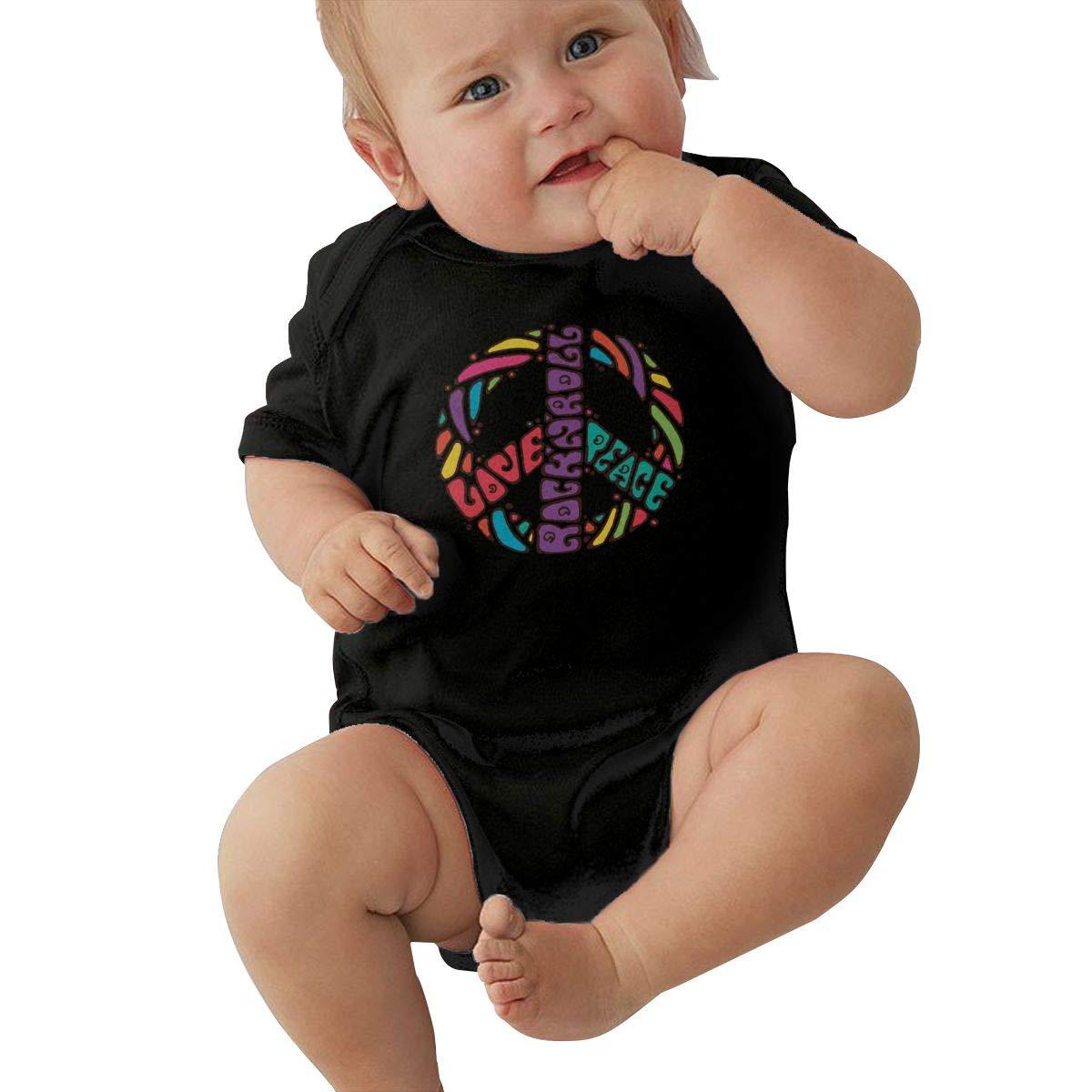 Cute Peace Love /& Rockn Roll Crawler U88oi-8 Short Sleeve Cotton Bodysuit for Unisex Baby