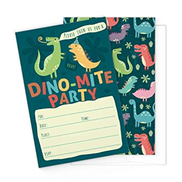 Amazon Com Dinosaur Kids Party Invitation Cards Lots Of Fun With