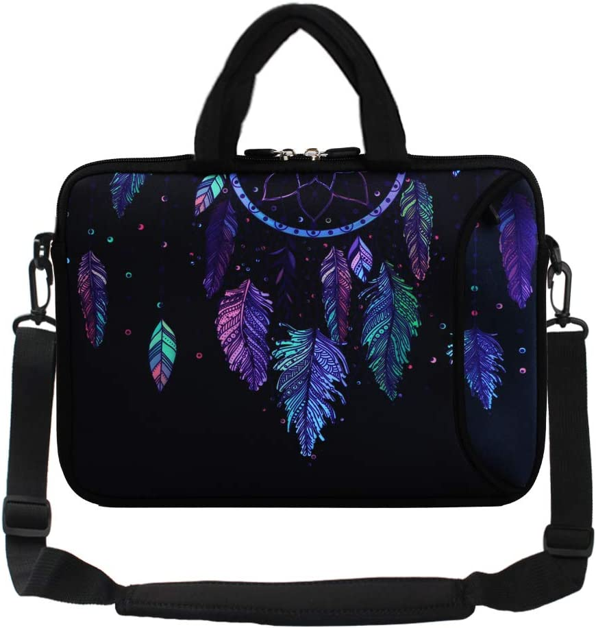 "Violet Mist 13""15""15.6""Neoprene Laptop Sleeve Bag Waterproof Sleeve Case Briefcase Pouch Bag Adjustable Shoulder Strap External Pocket(11""12""13""-13.3"",Dreamcatcher)"