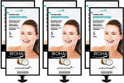 Iroha Nature - Mascarilla Facial en Crema, Hidratante Reconfortante con Coco, Pack de 6 unidades | Mascarilla Facial de Coco: Amazon.es: Belleza