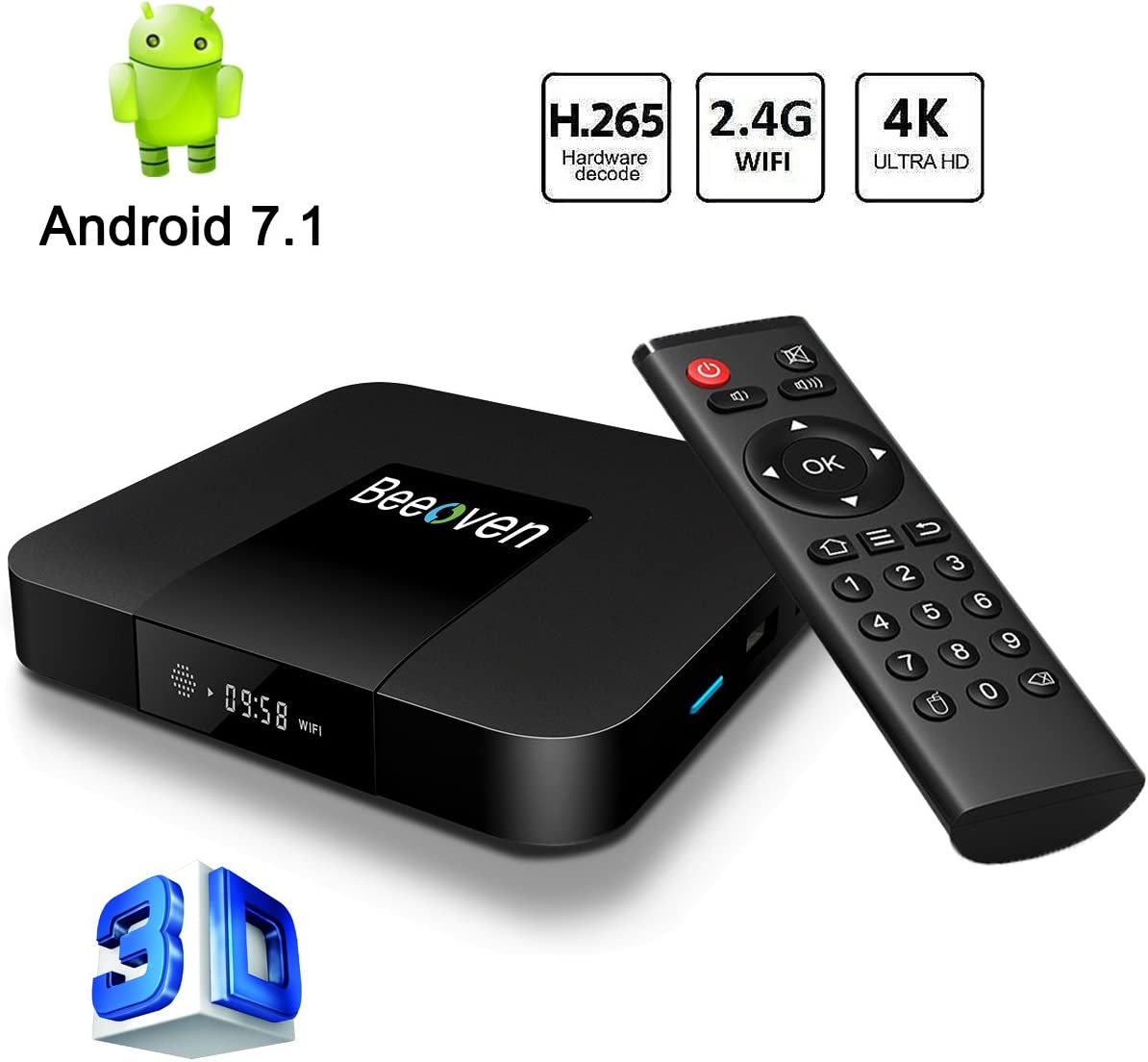 Beeoven Android TV Box 1 GB 8 GB Android 7.1 Nougat Amlogic 2.0 GHz Quad-core 4K Smart TV Box: Amazon.es: Electrónica