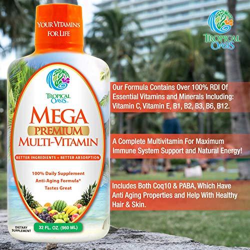 Mega Premium Liquid Multivitamin   Natural Anti Aging Multi-Vitamin w/20 Vitamins, 70 Minerals, 21 Amino Acids, CoQ10 & Organic Aloe Vera   Sugar Free   Orange Flavor   98% Absorption   32 Serv