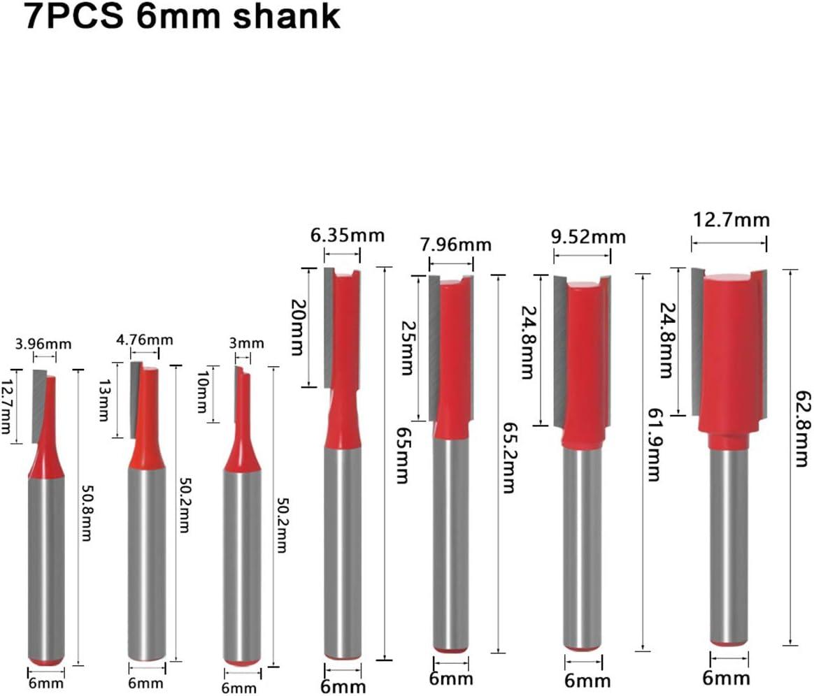 DingGreat 7Pcs 6mm V/ástago Cortador de Fresado de Broca Recta de Flauta Doble herramienta de corte de carpinter/ía