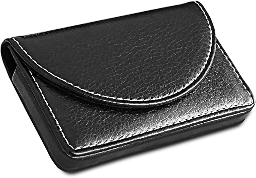 Holds 25 Men MaxGear Leather Business Card Holder Case with Magnetic Shut Black