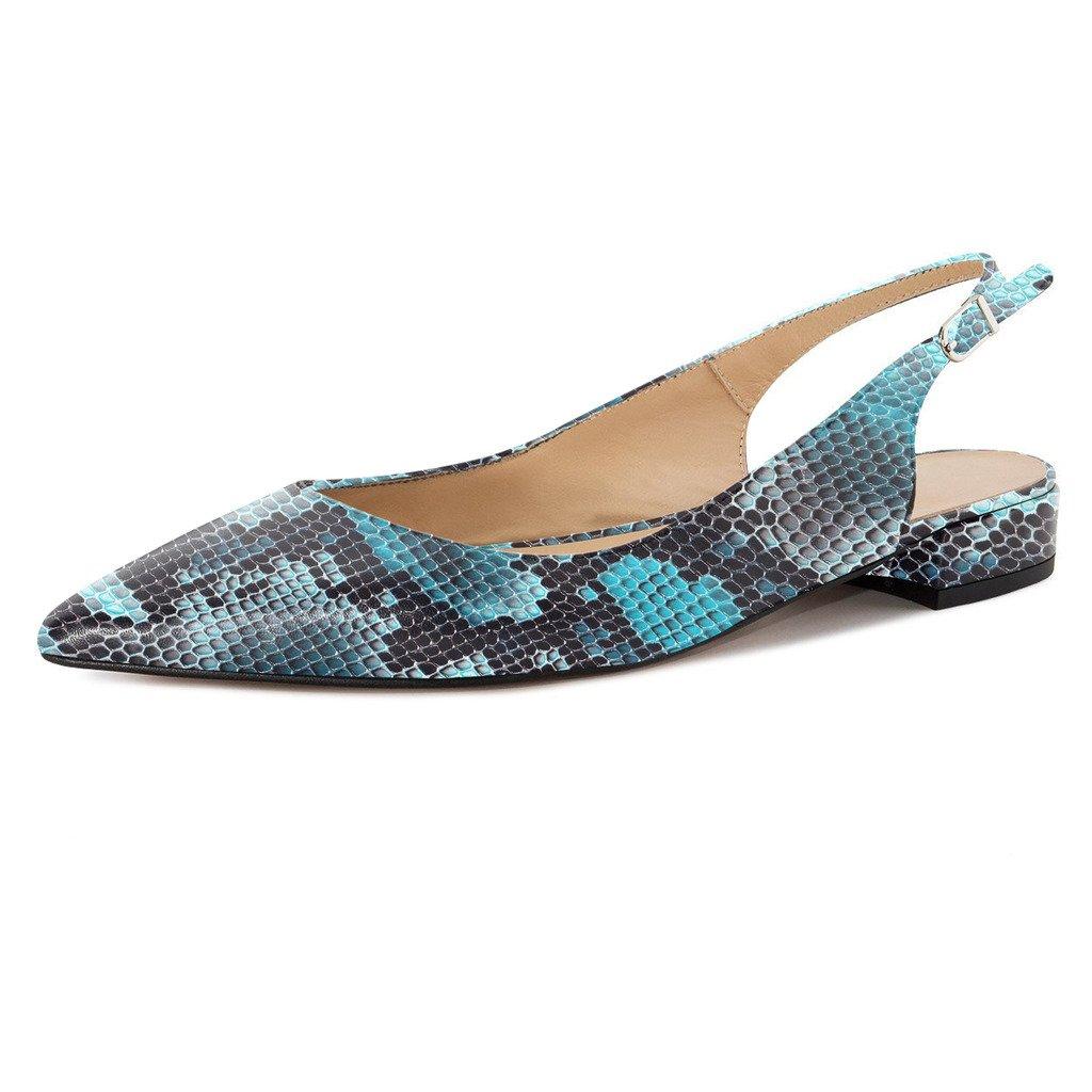 Eldof Women Low Heels Pumps | Pointed Toe Slingback Flat Pumps | 2cm Classic Elegante Court Shoes B0732XPHD4 13 B(M) US|Python-blue