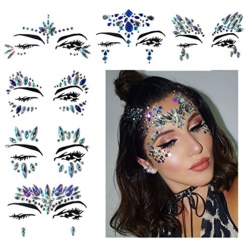 Fanme Face Gem Stickers Eyes Rhinestone Jewels Tattoo Mermaid Glitter Bindi Acrylic Crystal Body Jewelry Temporary Tattoo Fancy Makeup for Music Rave Festival Party Carnival 6 Pack (Pattern 1)]()