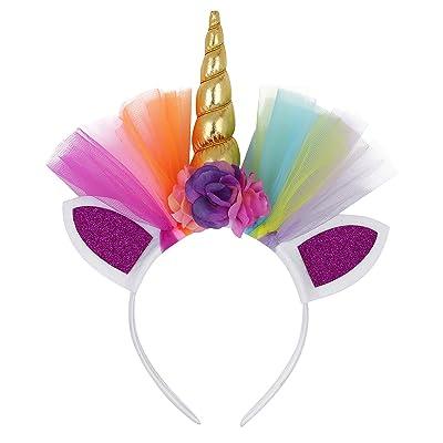 Freebily Enfant Fille Licorne Serre-tête Oreilles Chat Bandeau Cheveux Fleur pour Cosplay Fantaisie Costume Bandeau Licorne d'Anniversaire Soirée Carnaval Fête
