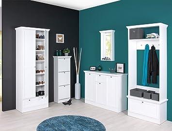 Garderobenset STOCKHOLM Set 5 In Weiß Garderobe Sideboard Spiegel  Schuhschrank Mehrzweckschrank Landhausmöbel Diele Flur
