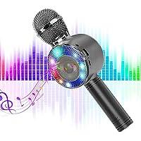 SaponinTree Micrófono Karaoke Bluetooth, 4 en1 Microfono Inalámbrico Karaoke Portátil con Luces LED 7 Colores para Niños…