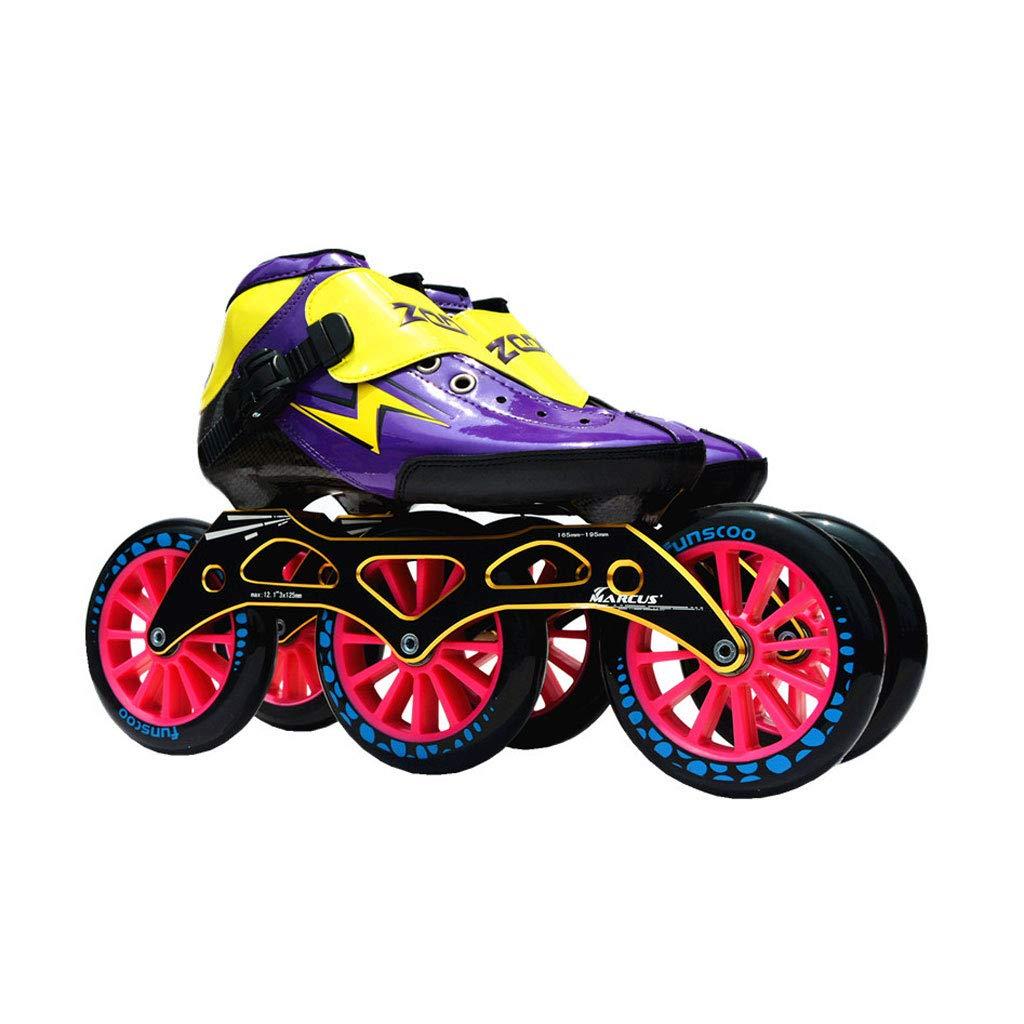 ailj スピードスケート靴3 * 125MM調整可能なインラインスケート、ストレートスケート靴(3色) (色 : Green, サイズ さいず : EU 38/US 6/UK 5/JP 24cm) B07HV1G7GN EU 35/US 4/UK 3/JP 22.5cm|Purple Purple EU 35/US 4/UK 3/JP 22.5cm