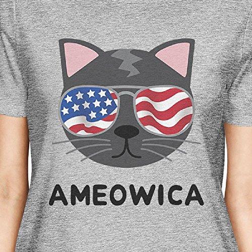 manga corta 365 Printing Ameowica para mujer Camiseta mujer o tama de gris para qptwZtS