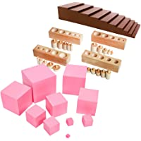 Prettyia Montessori Family Set Brown Stair+Pink Tower+Cylinder Blocks for Toddler Kid