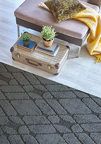 Custom Size Hallway Runner Rug Trellis Grey Color 31 inch Wide Select Your Length Non-Slip (Skid Resistance) Rubber Backing 23 feet x 31 inch (Color Options Available)