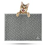 EHZNZIE Cat Litter Mat Non-Slip (35''x23'') Traps Litter from Box and Paws,Scatter Control and Phthalate & BPA Free,Soft on Sensitive Paws and Easy to Clean-(Light Grey)