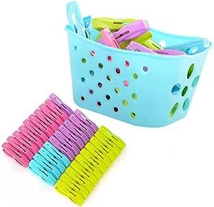 GOOTRADES - Pinzas resistentes para ropa con cesta, 30 unidades, resistentes al viento, color azul: Amazon.es: Hogar