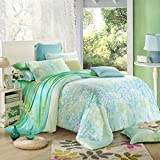 SAYM Home Bedding Sets Modern Fashion 3D Effect Digital Print Fresh and Elegant Tencel Bedding Set For Lovely Princess Teen Girls, Lady, Duvet Cover & Flat sheet & Pillow Case,4 Pieces,Queen Size