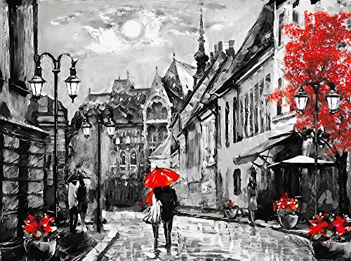 Faicai Art Black and White Wall Art HD Prints Landscape Canvas Paintings European City Hungary Budapest Street Artwork Couple Under Red Umbrella Night and Moon Framed Wall Decor 28x40inch