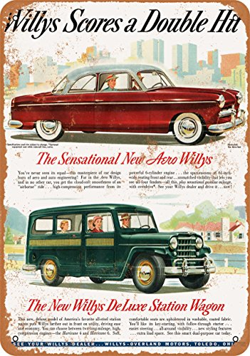 9 x 12 Metal Sign - 1952 Aero Willys and Willys Deluxe Station Wagon - Vintage Look