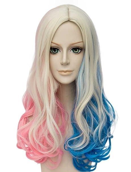 Falamka T3003 andp película Suicide Squad Harley Quinn Cosplay peluca para niña mujeres ramo rosa azul