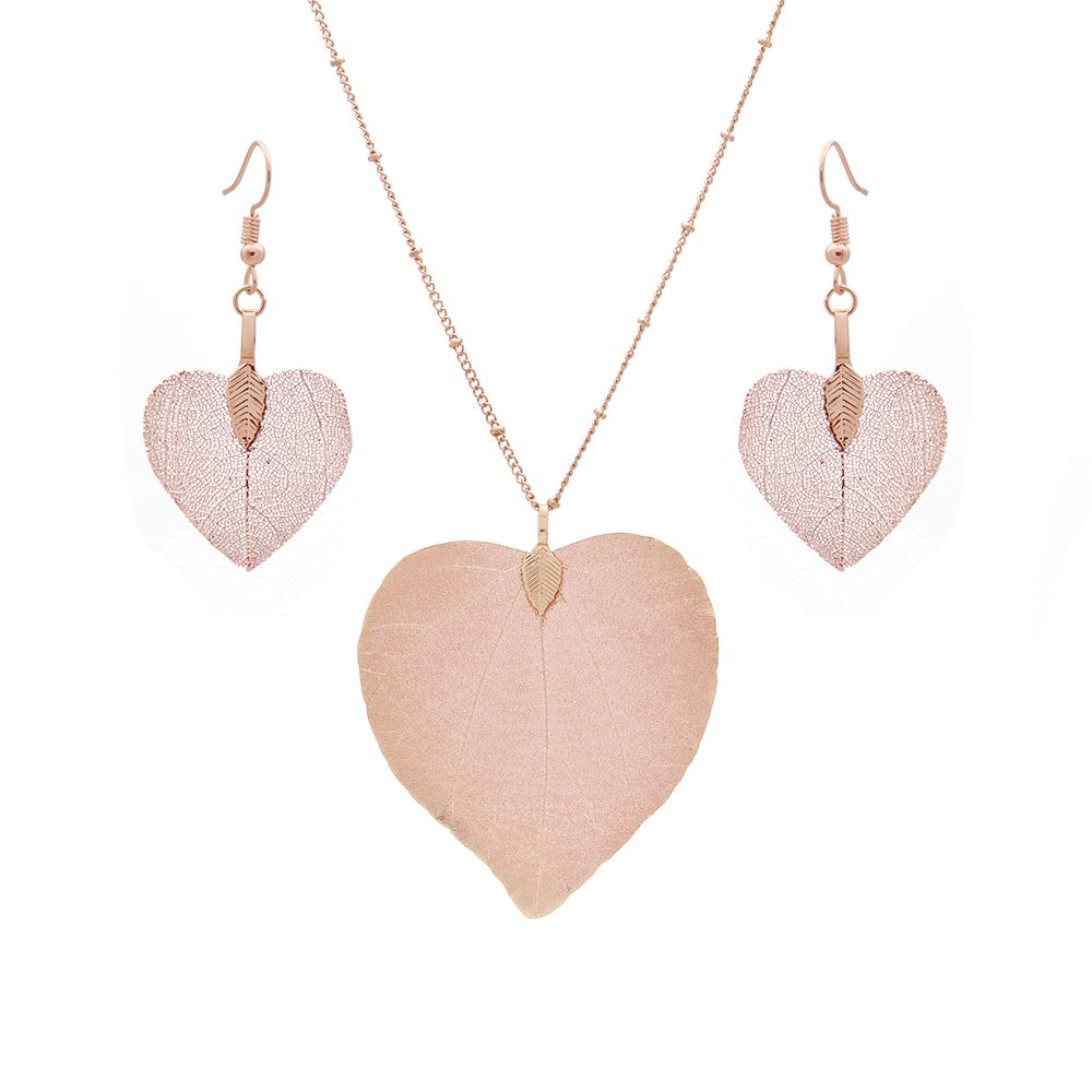 C&L Accessories C&L Real Natural Leaf Earring Necklace Set Heart Nacklace for Women Girls (Heart Rose Gold)