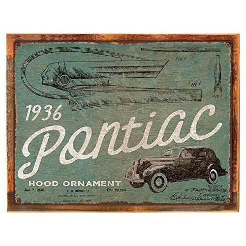 Wood-Framed 1936 Pontiac Hood Ornament Patent Metal Sign for home décor, garage, mancave, car and auto theme accents on reclaimed, rustic wood