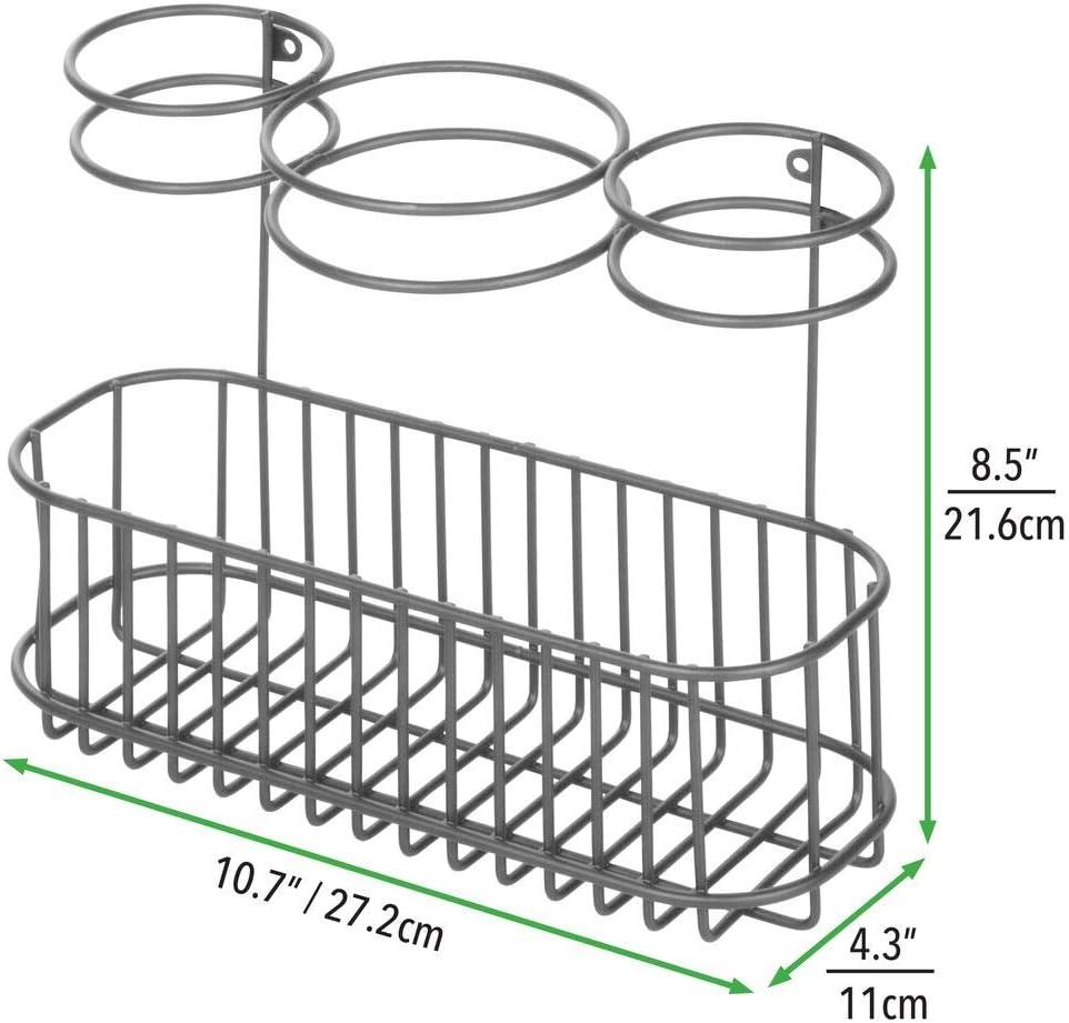 Porta asciugacapelli a muro con tre scomparti e un ripiano Capiente porta piastra in metallo perfetto per il bagno bianco mDesign Porta phon e piastra da montare alla parete