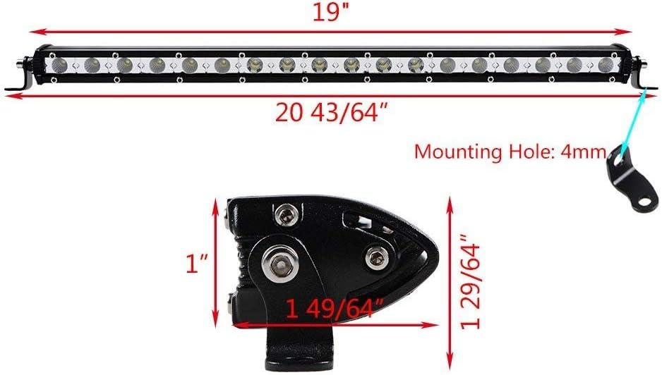 Cami/ón,Coche,ATV,SUV,Barco AUXTINGS 7 pulgadas 30W Ultra Slim Single Row LED Barra de luz foco con soporte de montaje para Off-Road
