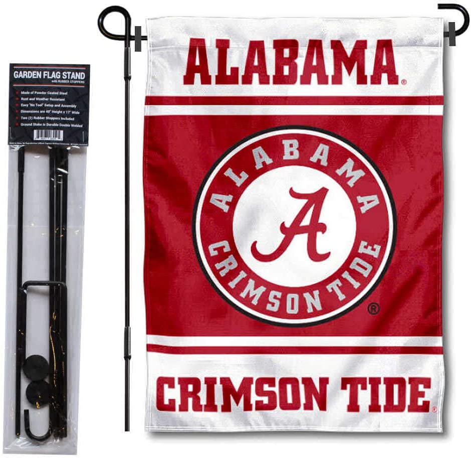 College Flags & Banners Co. Alabama Crimson Tide Garden Flag with Stand Holder