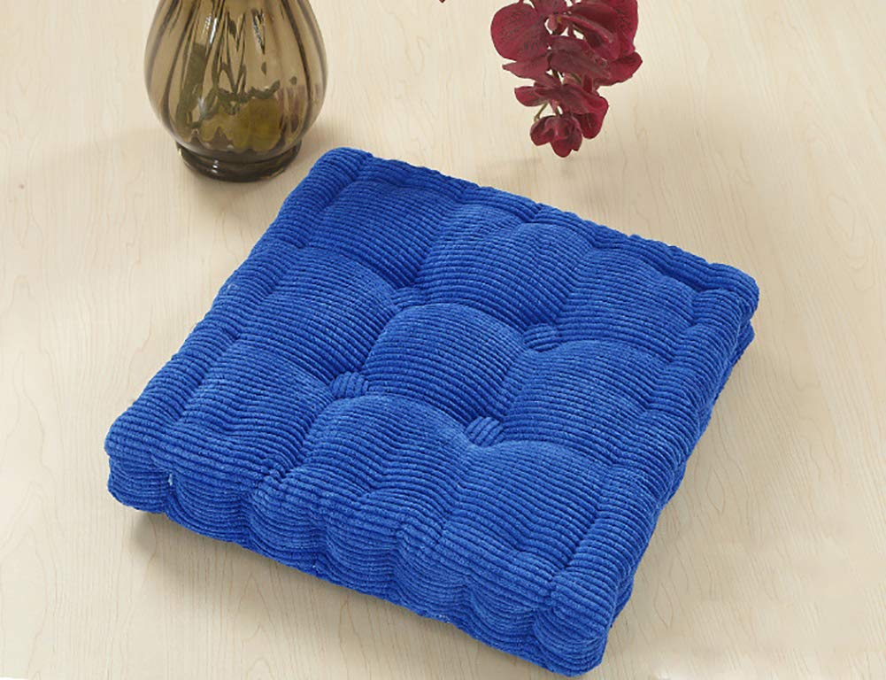 ChezMax Soft Corduroy Cotton EPE Cotton Filled Chair Cushion Thickened Tatami Solid Color Pad for Home Office Dinning Chair Seat Chair Pad Sapphire Blue 16 X 16 inch Buy ONE GET ONE